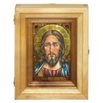 """Подарочная икона """"Господь Вседержитель"""" на мореном дубе 10х15 см с нимбом из сусального золота в березовом киоте"""