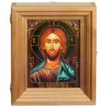 """Подарочная икона """"Господь Вседержитель"""" на мореном дубе 15х20 см с нимбом из сусального золота в березовом киоте"""