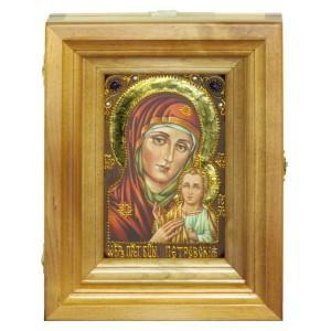 """Подарочная икона Божией Матери """"Петровская"""" на мореном дубе 10х15 см с нимбом из сусального золота в березовом киоте"""