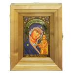 """Подарочная икона """"Казанская икона Божией Матери"""" на мореном дубе 10х15 см с нимбом из сусального золота в березовом киоте"""