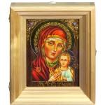 """Подарочная икона Божией Матери """"Петровская"""" на мореном дубе 15х20 см с нимбом из сусального золота в березовом киоте"""