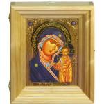 """Подарочная икона """"Казанская икона Божией Матери"""" на мореном дубе 15х20 см с нимбом из сусального золота в березовом киоте"""
