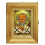 """Подарочная икона """"Святитель Николай, архиепископ Мир Ликийский (Мирликийский), чудотворец"""" на мореном дубе 10х15 см с нимбом из сусального золота в березовом киоте"""