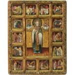 Святитель Николай, архиепископ Мир Ликийский (Мирликийский), чудотворец с житийными сценами